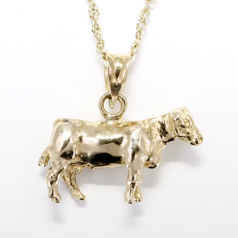 "Cow Necklace with a14kt Solid Gold Dairy Milk Cow on 18"" Chain"