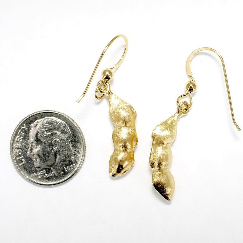 Whole Soybean Dangle Earrings in 14kt Gold Vermeil