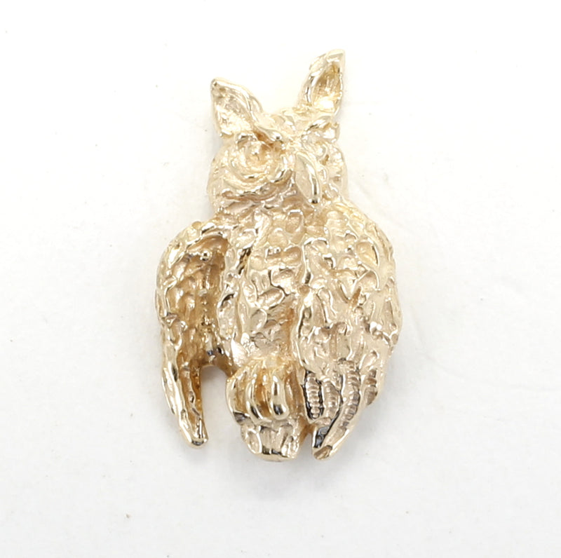 Gold Owl Tie Tack / Lapel Pin with small solid 14kt yellow gold owl facing sideways