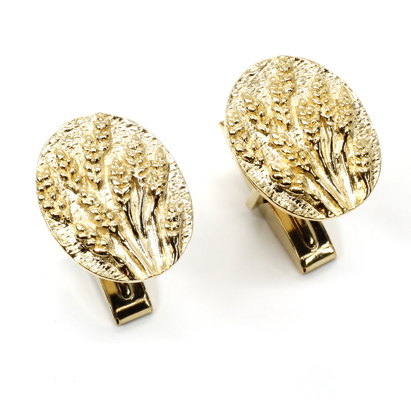 Gold Wheat Cuff Links for him with 14kt Gold Vermeil Fields of Wheat or Barley
