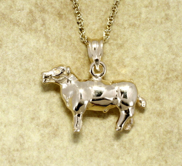 "14kt Yellow Gold Show Steer on 18"" chain"