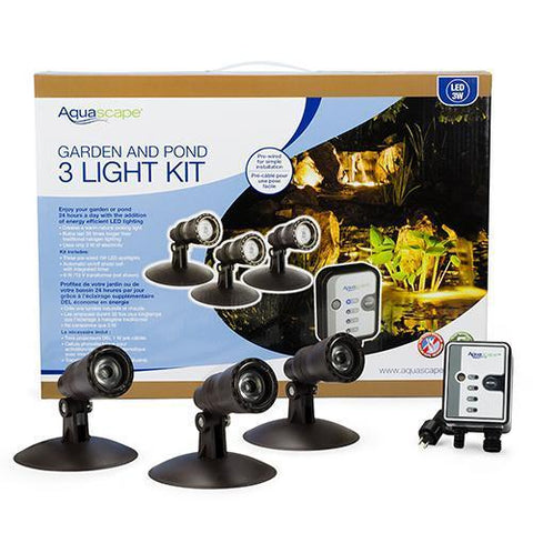Aquascape LED Pond & Landscape Spotlight Kit 3 x 1-Watt Lights 84030-pond kit-Aquascape-Kinetic Water Features