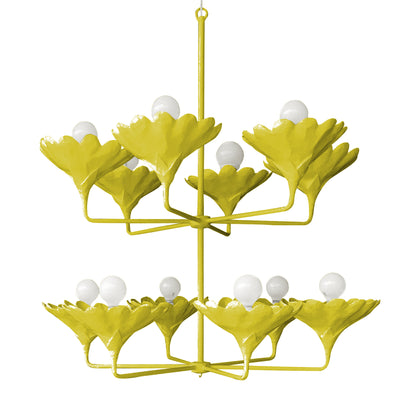chartreuse arlo chandelier with 12 arms and flower cups. handmade.