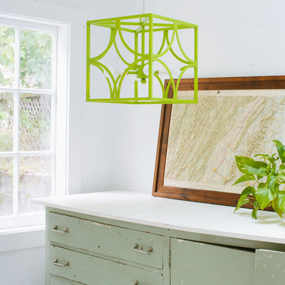 Hand made bright green iron chandelier
