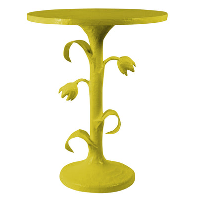 chartreuse side table with tulips by stray dog designs