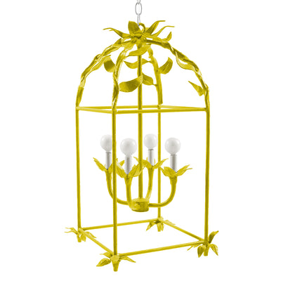 Chartreuse floral lantern hand crafted from paper mache