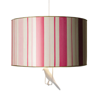 pink candy stripe drum pendant with bird on a swing