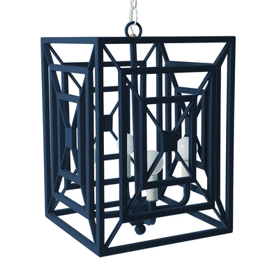 navy blue iron rectangles chandelier