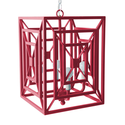 Pink metal rectangular pendant, Jay Chandelier