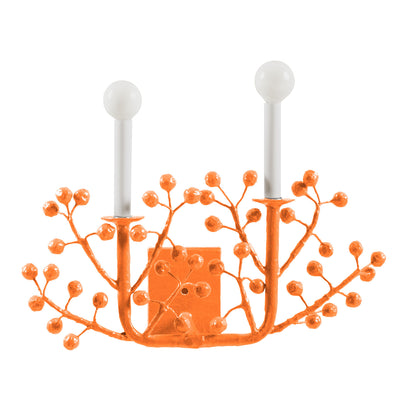 orange wall light with paper mache berries, Laura B Sconce
