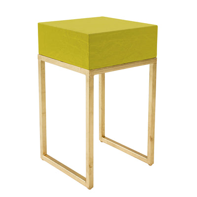 punchy side table in chartreuse and gold hand crafted