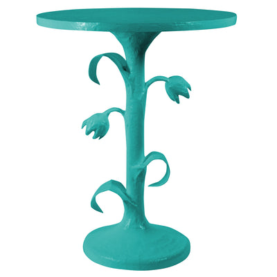 bright blue tulip inspired side table handmade and artistic