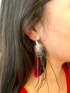 Boho feather on sterling silver earrings
