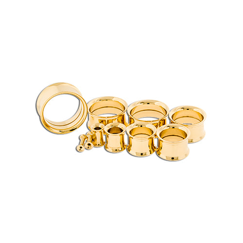 Metal Mafia GOLD PVD COATED INTERNALLY THREADED TUNNELS (GOTTI)