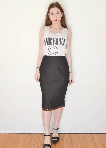 Vintage 1980's Sandra Rodeo Frill & Stud Charcoal Pencil Skirt
