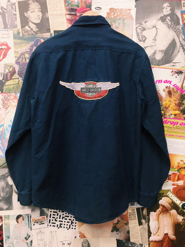 Harley Davidson Navy Collared Long Sleeve Shirt
