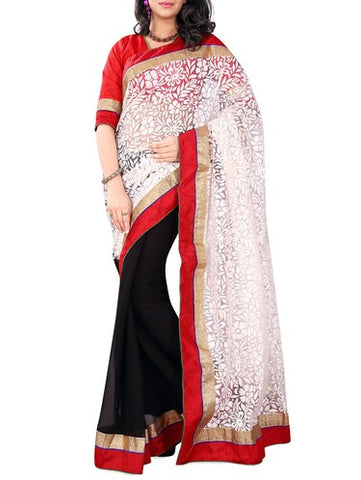 Black White Embroidery Saree