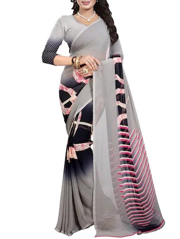 Grey Linen Printed Saree
