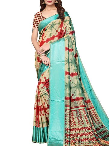Silk Printed Border Saree