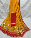 Yellow party wear gotta patti saree