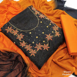 Orange black embroidery organza dress material