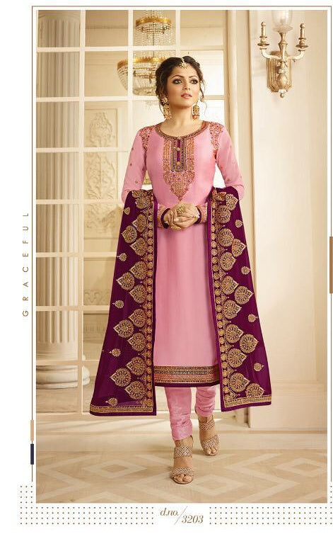 Georgette embroidery pink dress material