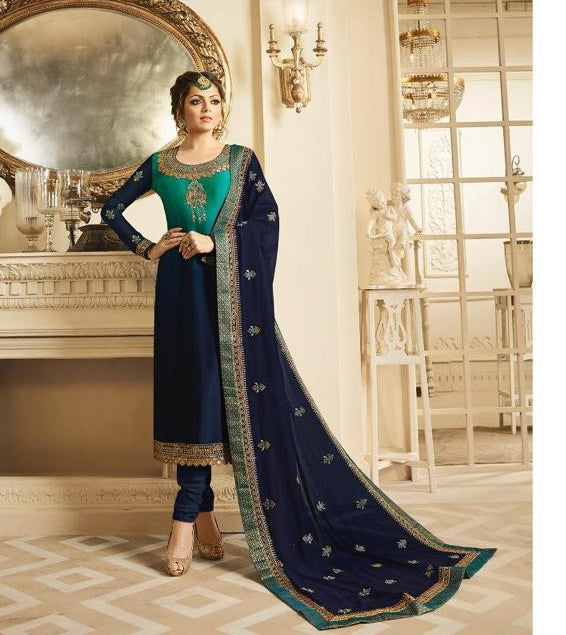 Georgette embroidery blue dress material