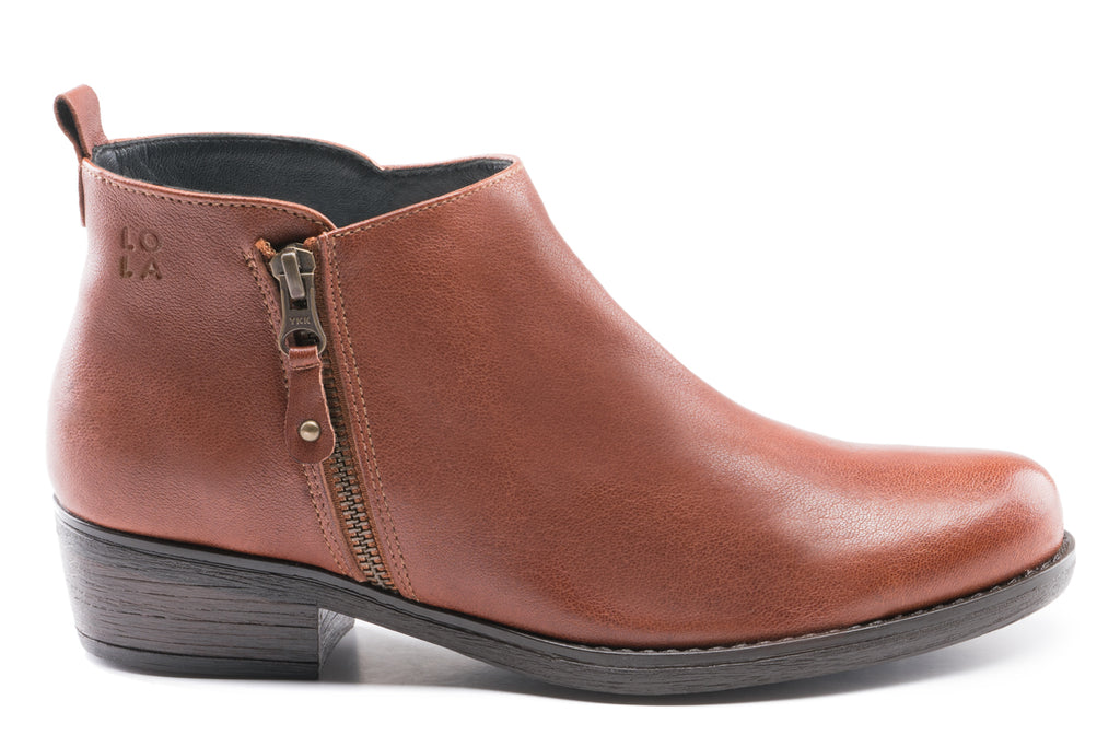 Amber Leather Ankle Bootie - Brandy