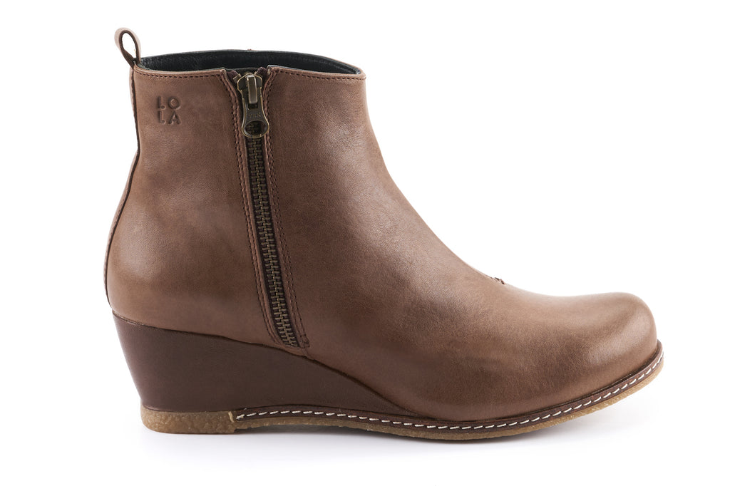 Grace Leather Wedge Ankle boots - Mocha