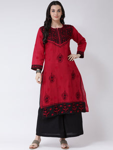 Castle Red Cotton Chikankari Kurta with Sharara Set