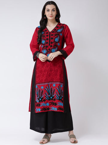 Castle Red & Black Cotton Chikankari Kurta with Sharara Set