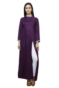 Castle Side Slit Wine Rayon Kurta