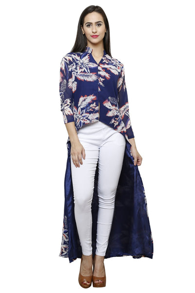 Castle Front Slit Navy Blue Printed Georgette Kurta With Jegging