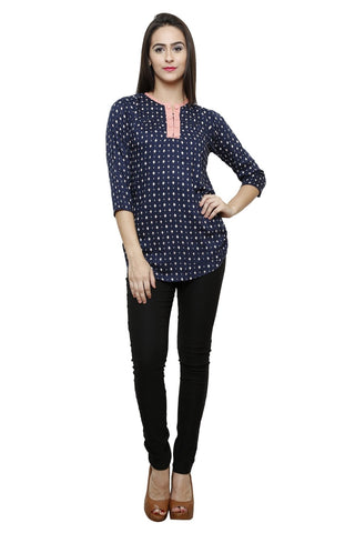 Castle Navy blue Printed Modal Top