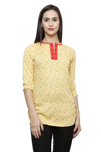 Castle Yellow Printed Modal Top