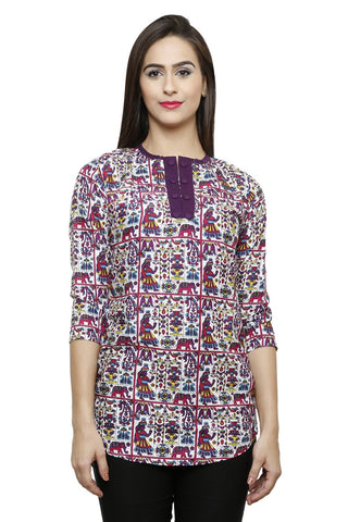 Castle Multicolour Printed Rayon Top