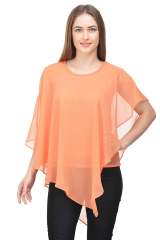 Castle Orange Solid Georgette Top - Castle Lifestyle