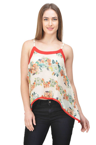 Castle Ivory Printed Georgette Crop Top - Castle Lifestyle
