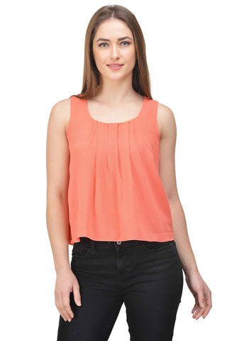 Castle Peach Solid Bubble Georgette Crop Top - Castle Lifestyle