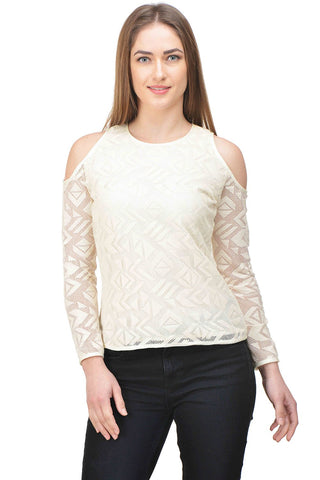 Castle Off-White Solid Off-Shoulder Net Top - Castle Lifestyle