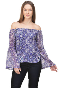 Castle Purple Printed Off-Shoulder Chiffon Top - Castle Lifestyle