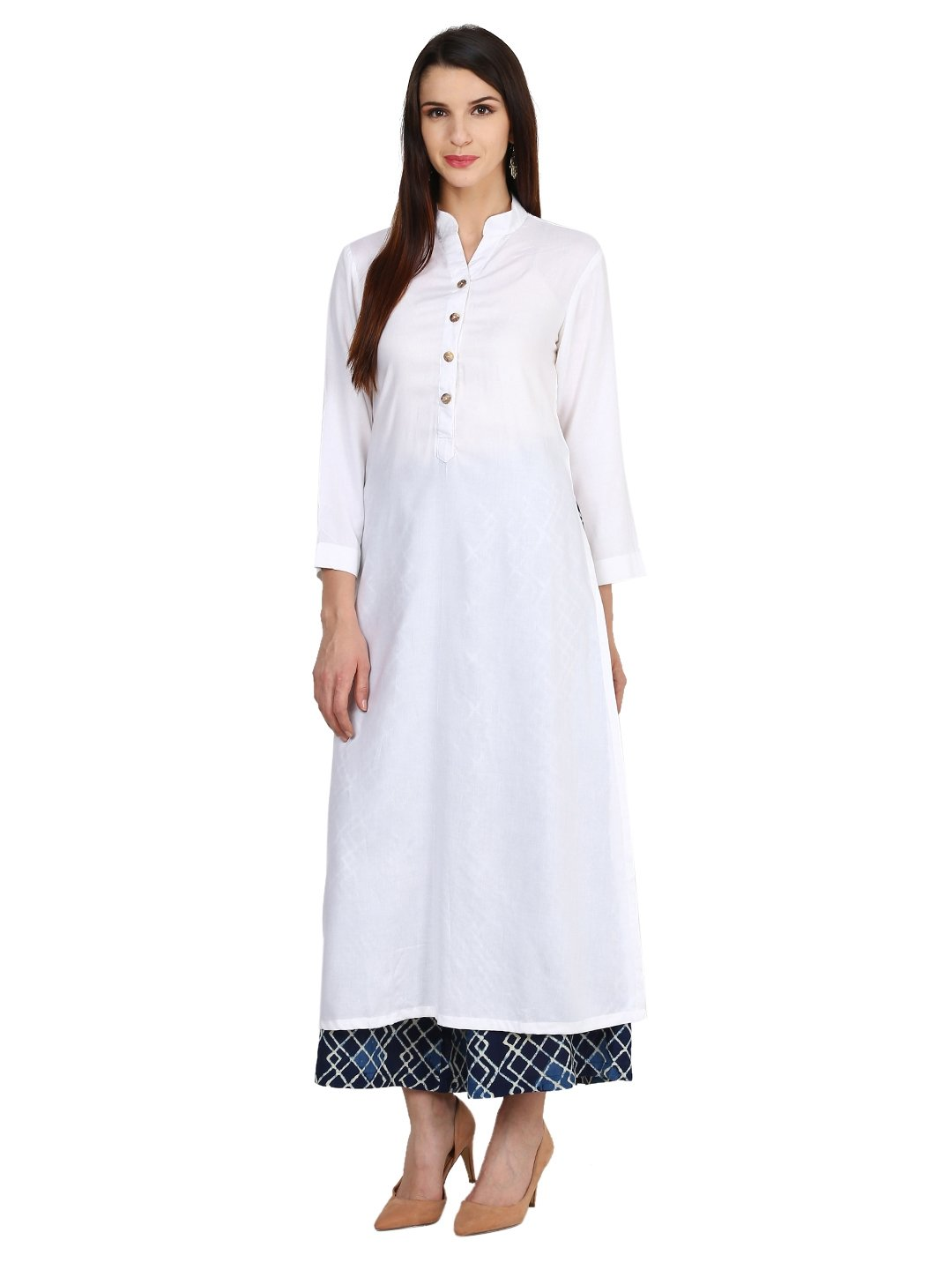 Castle Off-White Solid Rayon Kurta