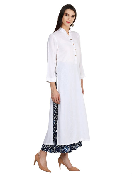 Castle Off-White Solid Rayon Kurta - Castle Lifestyle