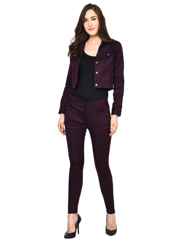 Castle Wine Solid Pant and Jacket Set