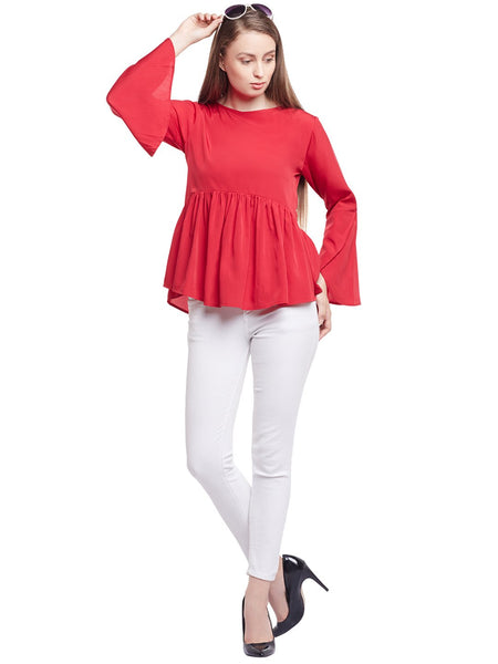Castle Maroon Solid Crepe Top