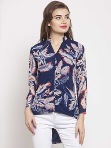 Castle Navy Blue Printed Georgette Shirt