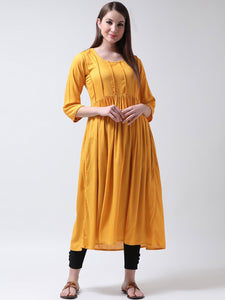 Castle Mustard Yoke Design Kurta