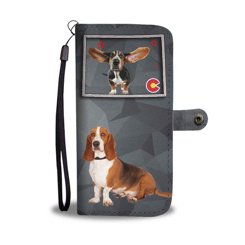Cute Basset Hound Print Wallet Case-Free Shipping-CO State