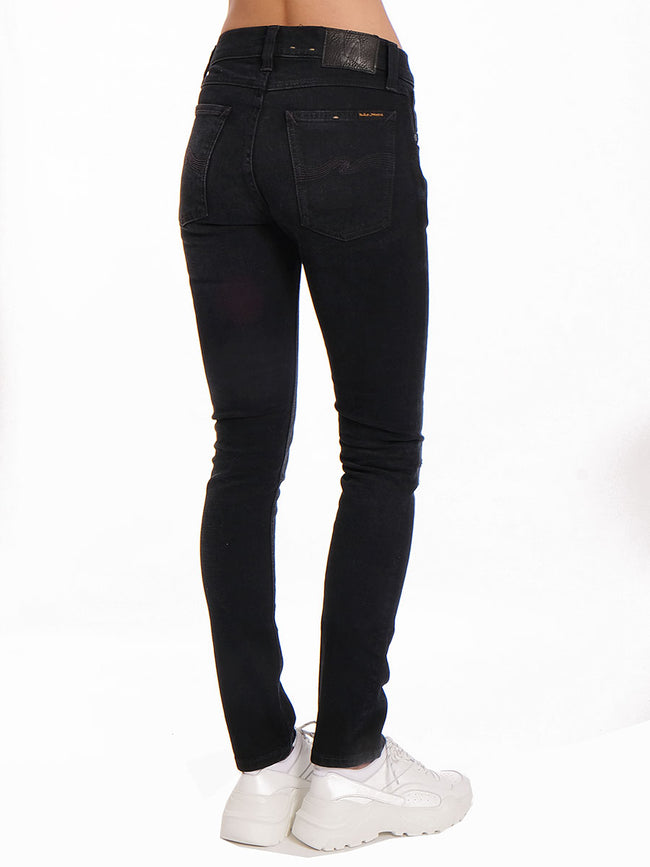 TIGHT TERRY JEANS - BLACK BLUE PATCHES