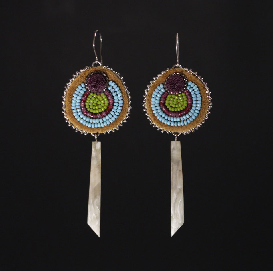 PRE-ORDER Beaded, Caribou Tufting and Muskox Horn Earrings